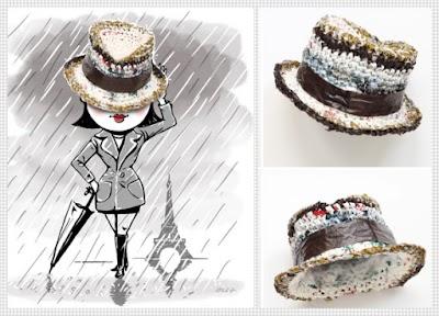 Sombrero de lluvia panamá con bolsas de basura reciclando