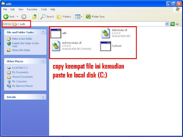 Copy paste file adb ke c