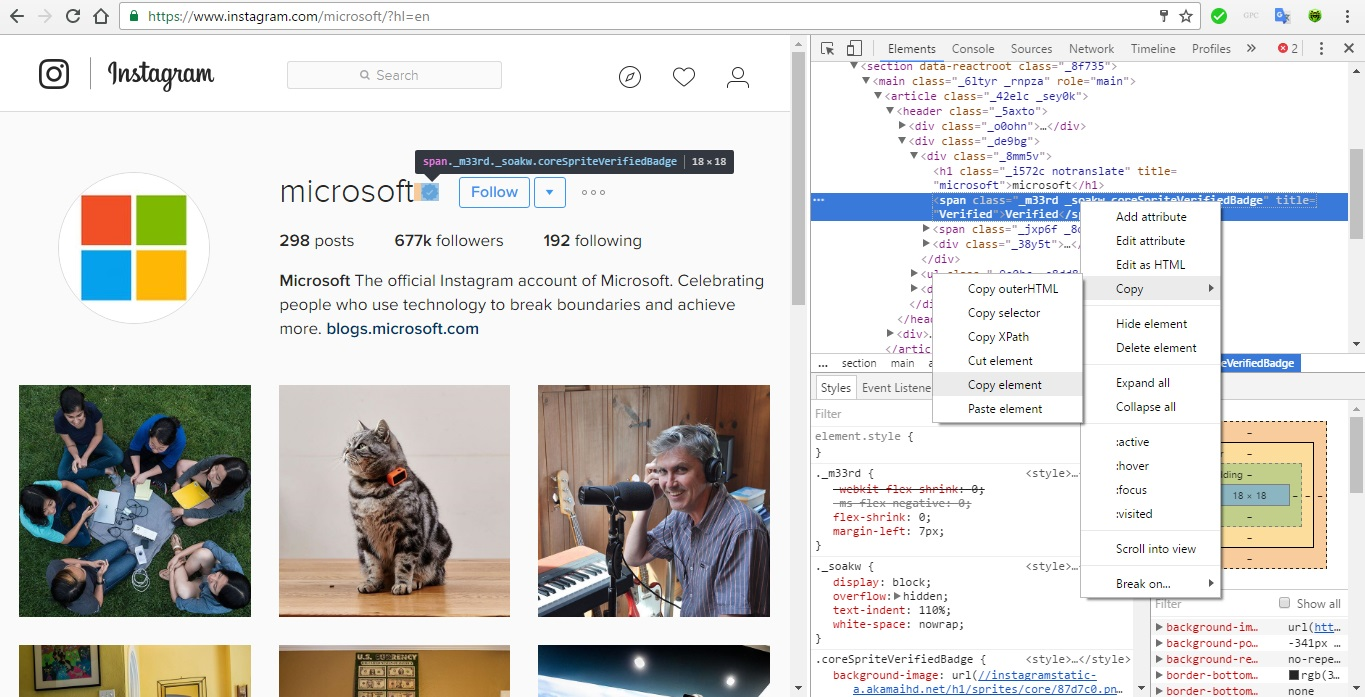 How to get a verified badge on instagram account using html editing now go to your profile and right click on your name and click on inspect buycottarizona Image collections