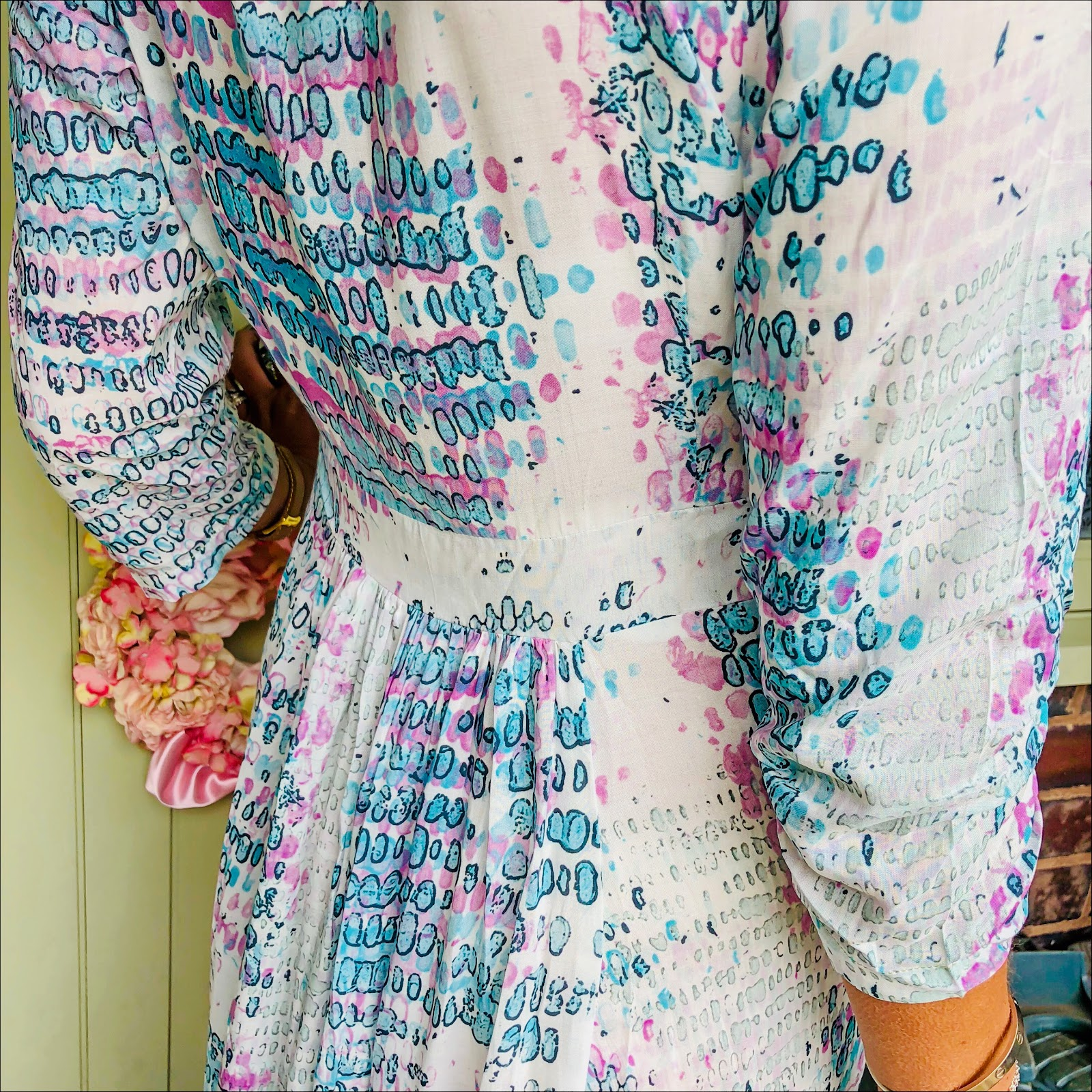 my midlife fashion, sophia alexia, sophia alexia aqua pink snake ruffle wrap dress, massimo dutti leather biker jacket, golden goose superstar low top leather trainers