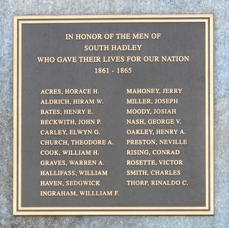 plaque on civil war monument south hadley ma