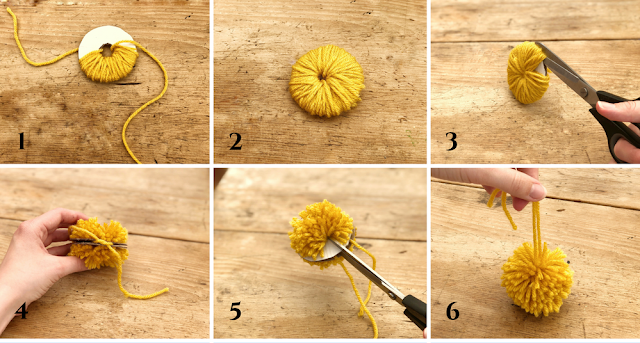 DIY tutorial to make a wool pom pom garland on belly basket for £10. Summer interior trend and storage solution you can craft and create yourself on a tight budget