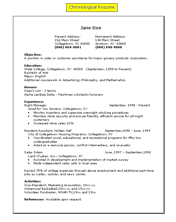 Resume Examples Funny Mistakes Chronological Format