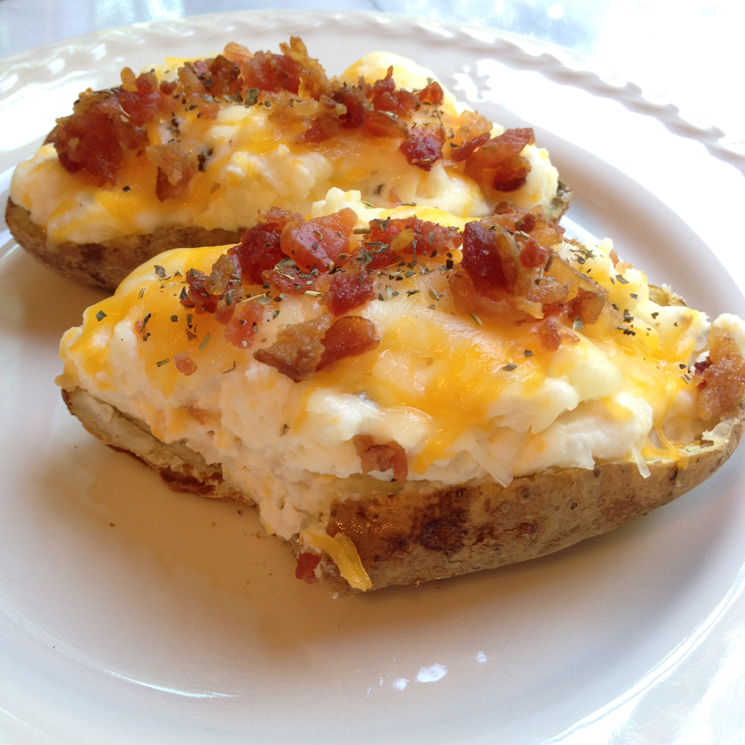 Double-Stuffed Potato Skins #foodiefootballfans - A Simpler Grace