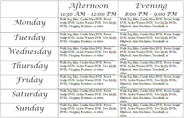 Happy Healthy Gina day thirty-six weekly exercise schedule
