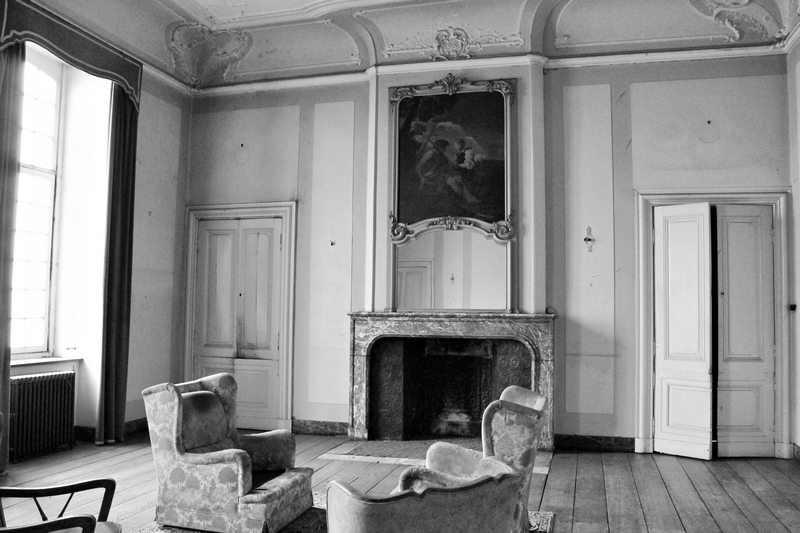 Grand salon encore en bon état du château chokier accroché au sommet d'une falaise en Belgique