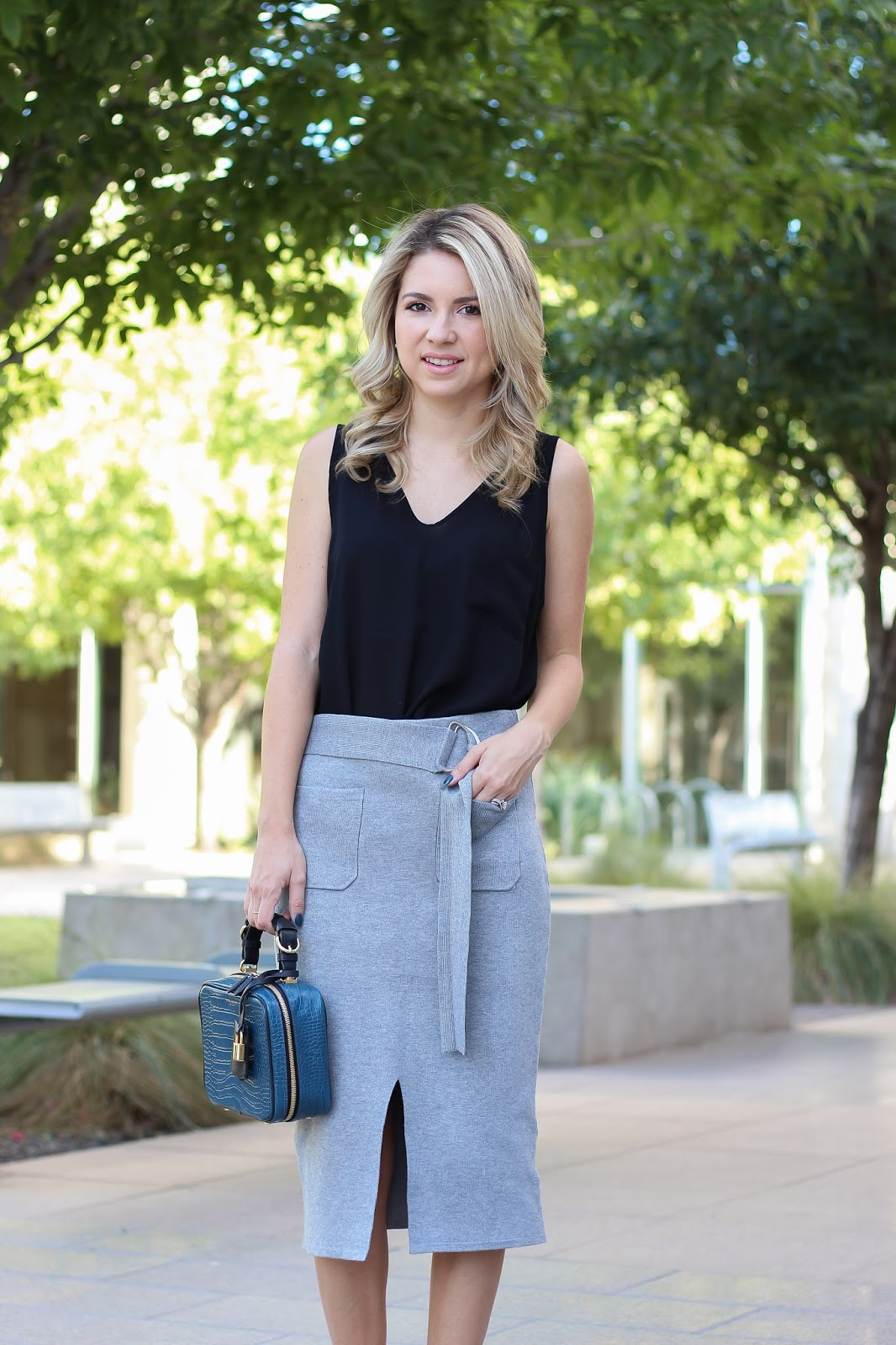 knit skirt - grey skirt - lucy paris - how to style