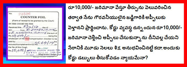 Ranga Reddy District Court to the fine Ten Thousand only Paid