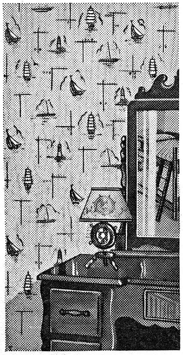 a boy's nautical bedroom 1941, illustration