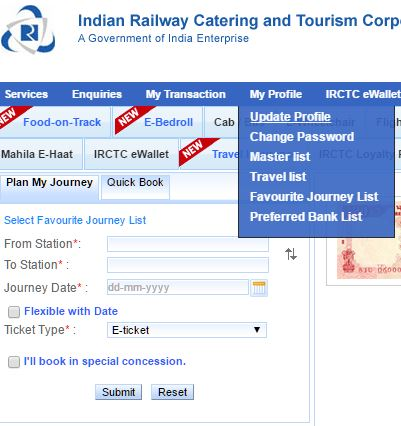 irctc update profile