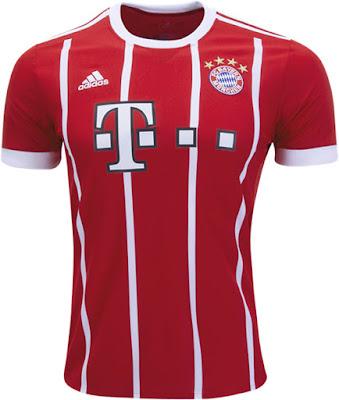 2017-18 Bayern München Home Red Soccer Jersey