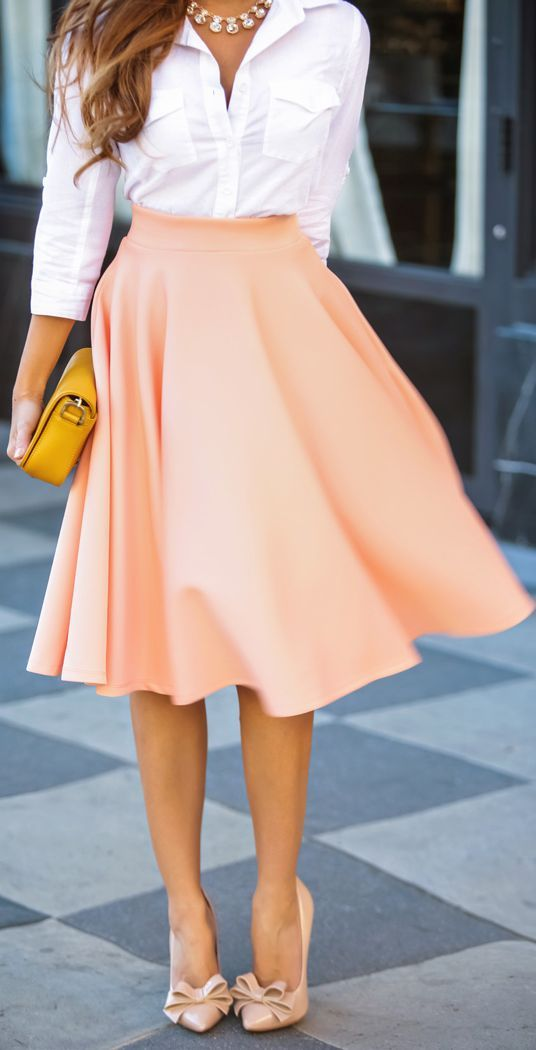 Peach Skirt And White Shirt Beautiful Formal Look