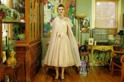 50s Midi Lacy Peach Dress & Coat Set