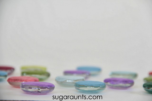 colored glass gems for play and learning. These are easy and fun to make your own colors!