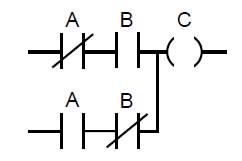 logic gates  boolean equation and equivlent ladder diagram