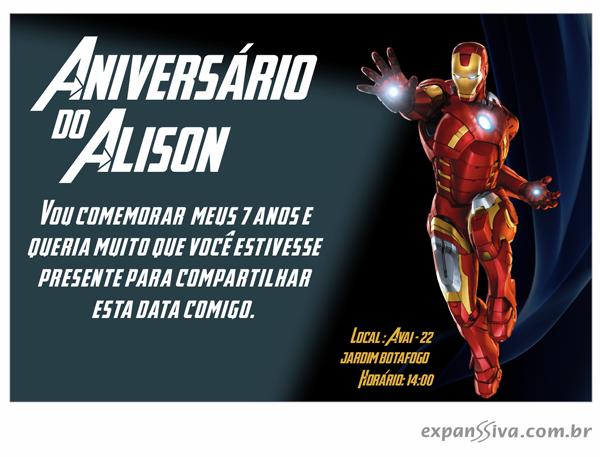 Convites de Aniversário do Homem de Ferro - 02
