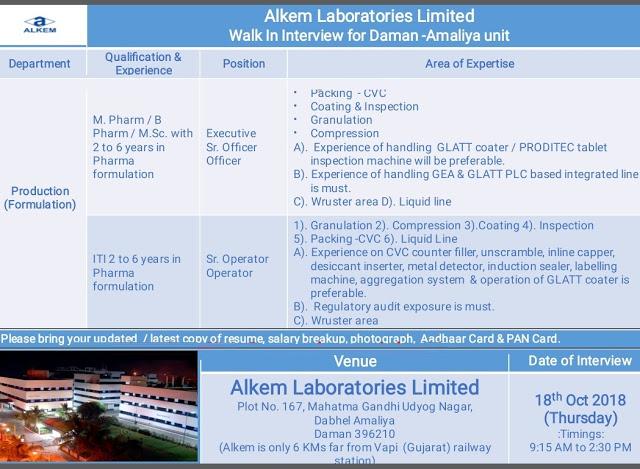 Alkem Laboratories Walk-In-Interview B.Pharm, M.Pharm, M.Sc, ITI at 18 October