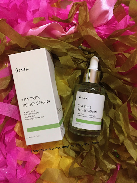 Korean Delicious Cosmetics skincare reviews: iUNIK - TEA TREE RELIEF SERUM
