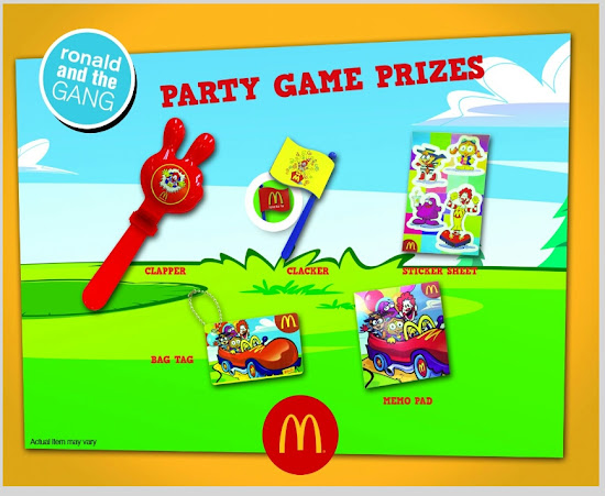 Game prizes for McDo Party