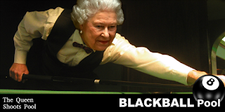 queen shoots blackball pool