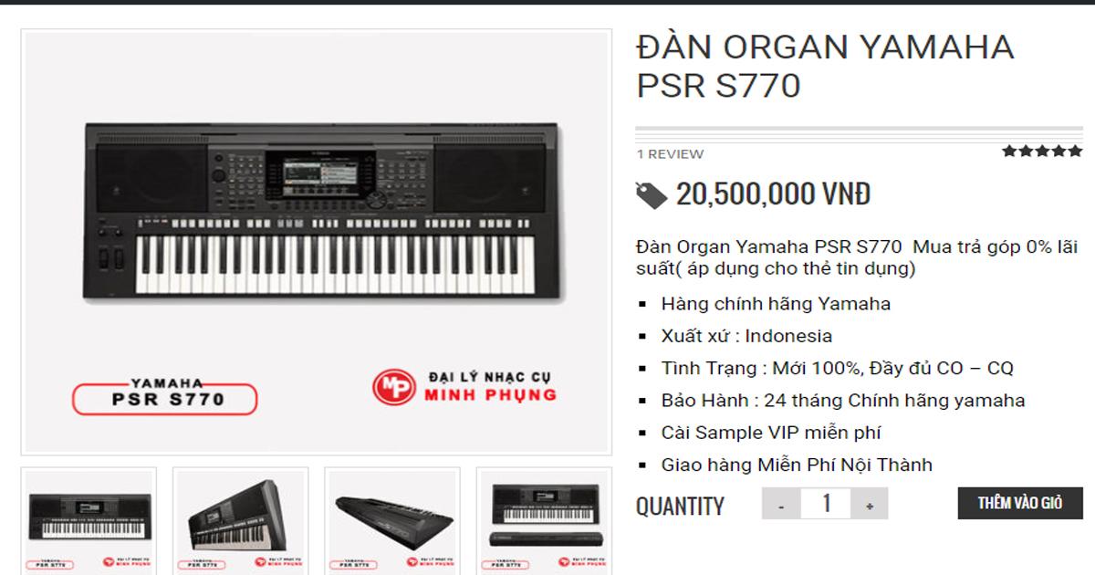 PSR S770 đang được bán với giá 20.500.000 VNĐ tại nhạc cụ Minh Phụng