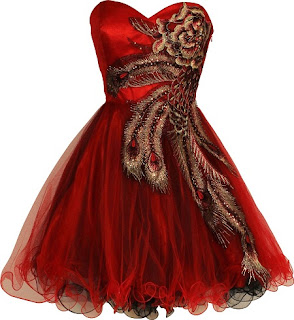 red peacock dresses