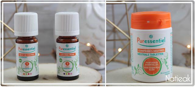 Huiles essentielles de menthe poivrée et lavande vrai et comprimé neutre Puressentiel