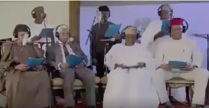 Watch Video Of Obasanjo, Gowon,Ekweme, Shonekan, Diya Others Turns Church Choir At New Year Service