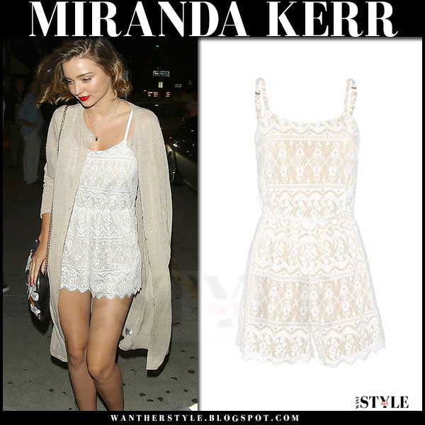 Miranda Kerr in white lace romper alice olivia cassia what she wore