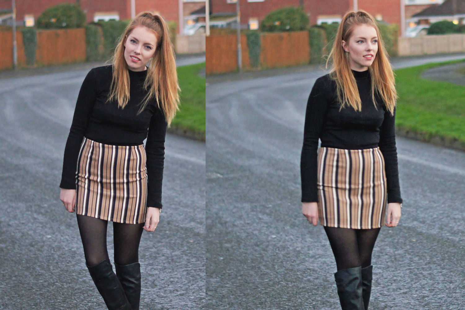 camel striped mini skirt missguided