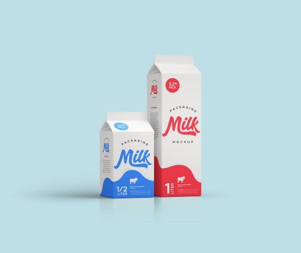 Milk box mockup template design free psd