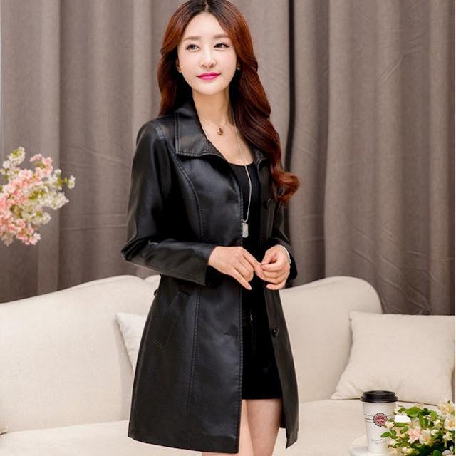 model jaket kulit wanita panjang murah tanah abang terbaru 2016