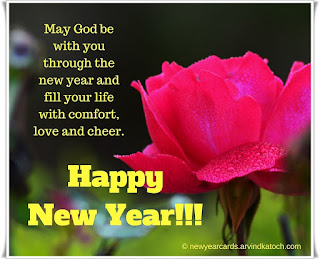 Happy New Year, New Year Card, Pink Rose, Love, God, Cheer,