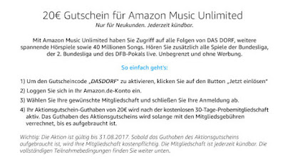 Amazon Music Unlimited Gutschein 20 Euro