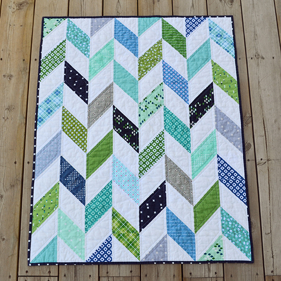 Baby Boy Herringbone Quilt made by Stephanie Erskine using fabric from Dixie & Hazel by Allison Harris, and a mix of cotton+steel prints, The Tutorial by Kat of Kat and Cat Quilts