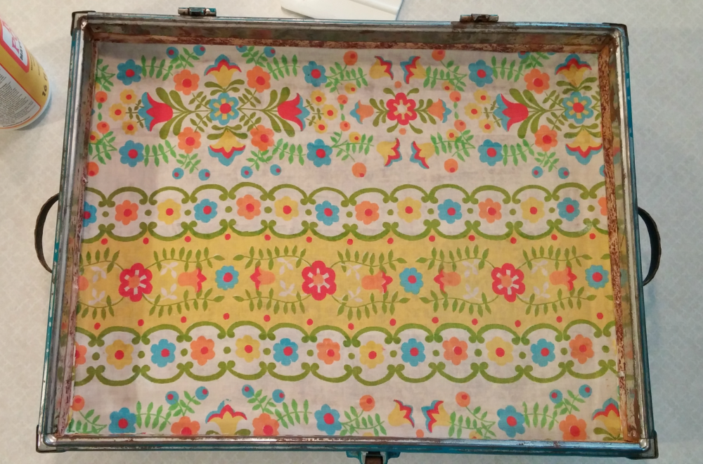 vintage suitcase lining