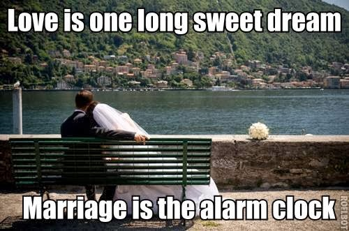 Funny joke picture - Love is one long sweet dream, marriage is the alarm clock image