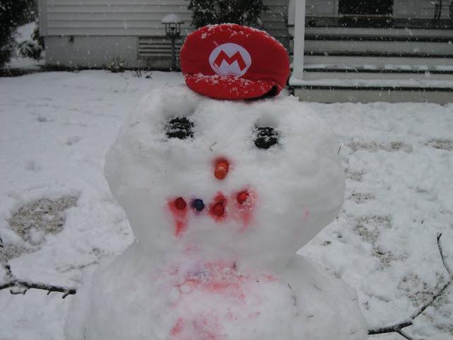 Super Mario hat cap bloody snowman RawkHawk2010