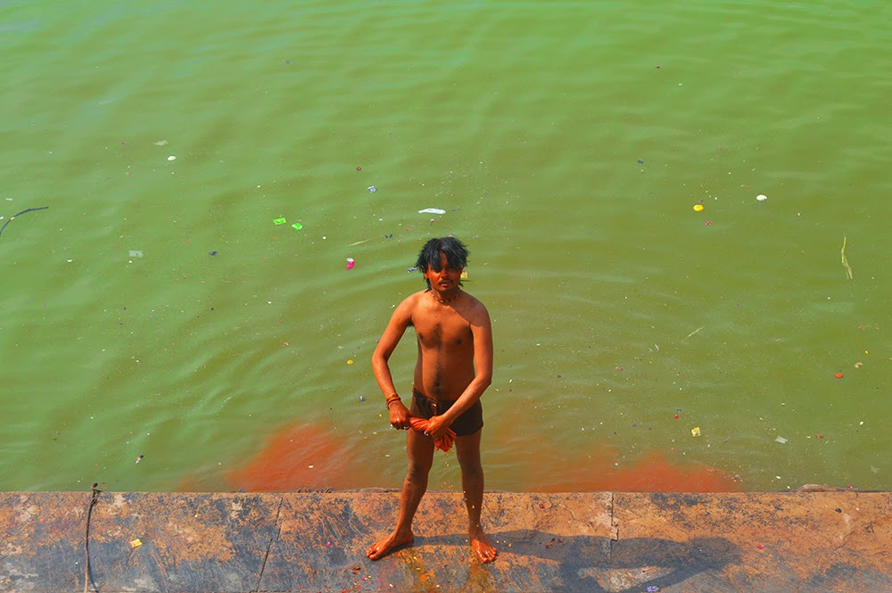 Young Indian man male bathing underwear langot water wet Dauji Temple Mathura Holi Huranga 2015 women men playing