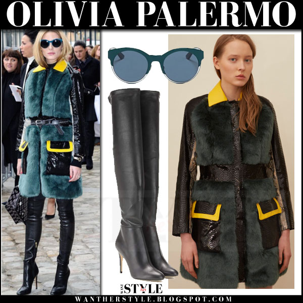 Olivia Palermo in green fur kim shui coat and black jimmy choo toni boots dior front row paris fashion week what she wore
