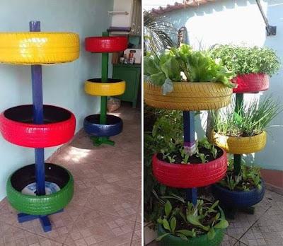 Huerta vertical hecha con neumáticos reciclados