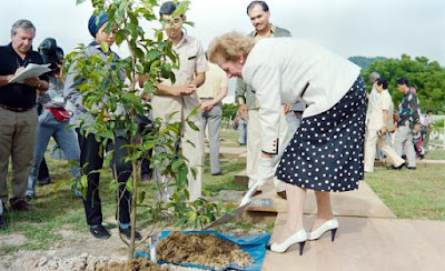 Margaret Thatcher planting a tree sapling