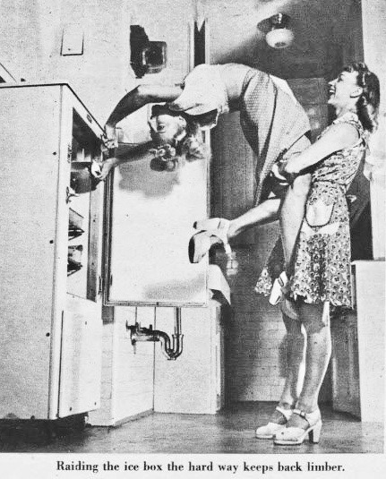 Staged photo c. 1940s Raiding the icebox with the help of a friend and a backbend. Oh Wait and other stories of the Refrigerator. marchmatron.com