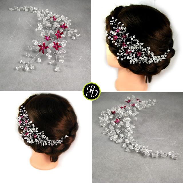 Ślubna gałązka do włosów - kwitnąca wiśnia.