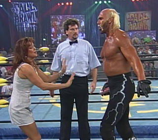 WCW FALL BRAWL 1996 REVIEW: Miss Elizabeth tries to stop Hulk Hogan from attacking Randy Savage