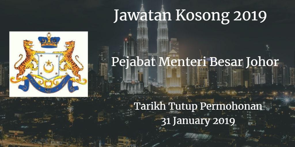 Jawatan Kosong Pejabat Menteri Besar Johor 31 January 2019