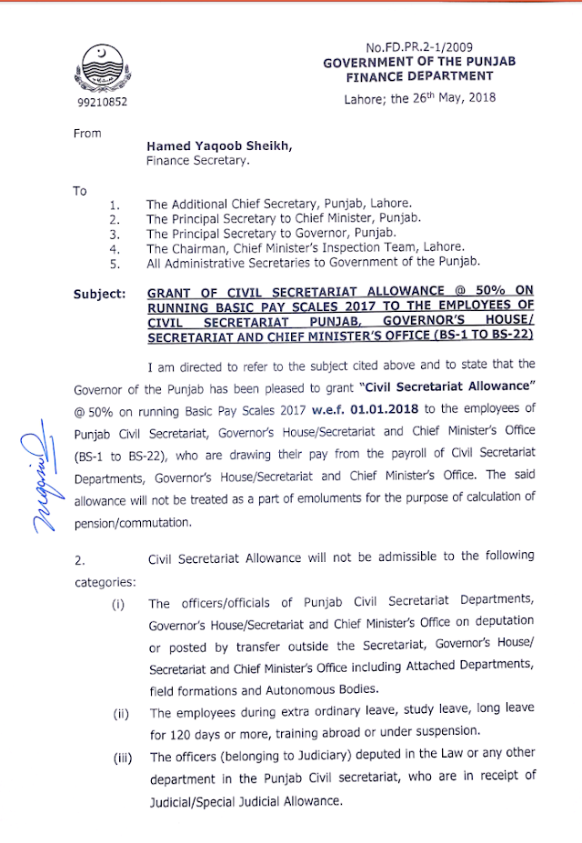 NOTIFICATION REGARDING CLARIFICATION OF ADMISSIBILITY OF CIVIL SECRETARIAT ALLOWANCE TO THE OFFICERS / OFFICIALS OF CIVIL SECRETARIAT, GOVERNOR'S HOUSE / SECRETARIAT AND CHIEF MINISTER'S OFFICE
