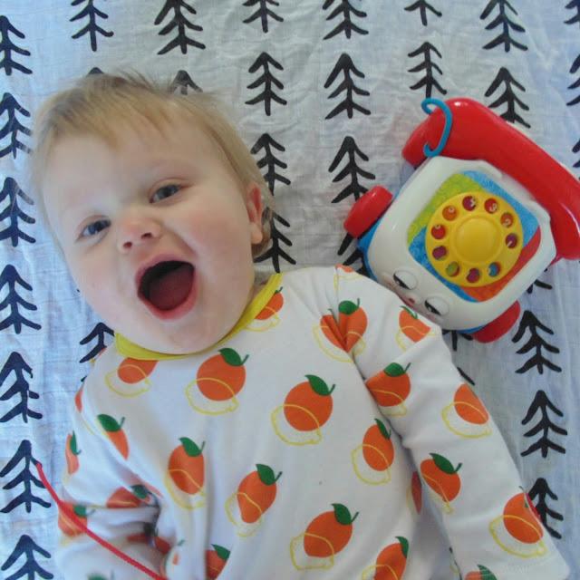 Barney 10 months old, modern burlap muslin, little cubs sleepsuit
