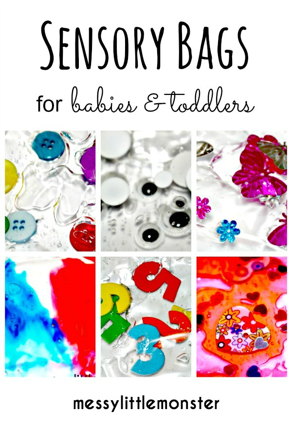 Easy instructions on how to make sensory bags for babies and toddlers using laminator pouches and gel.  We have 6 sensory bag ideas, Spring, buttons, numbers, googly eyes, colour mixing and hearts. Simple no mess play ideas for kids.  Perfect for early years, eyfs, babies, toddlers