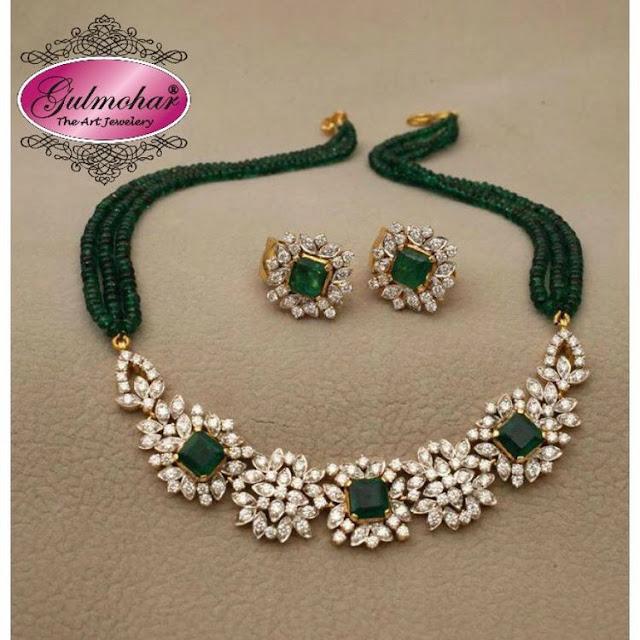 Diamond Emerald Beads Choker Studs